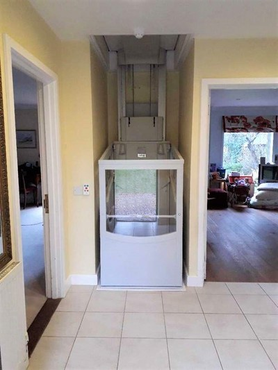 Through The Floor Lift or Homelift in a compact position saving space